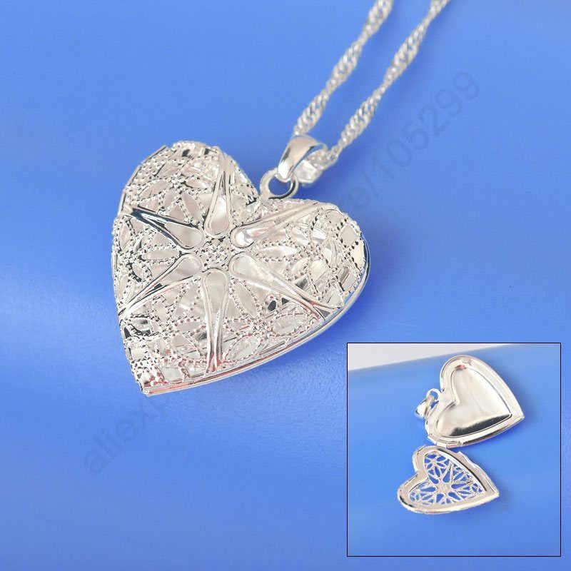 Полые 925 серебряные цепочки установленной Пробы Колье в форме сердца открытый корпус рамка Подвески ожерелье s для женщин вечерние ювелирные изделия