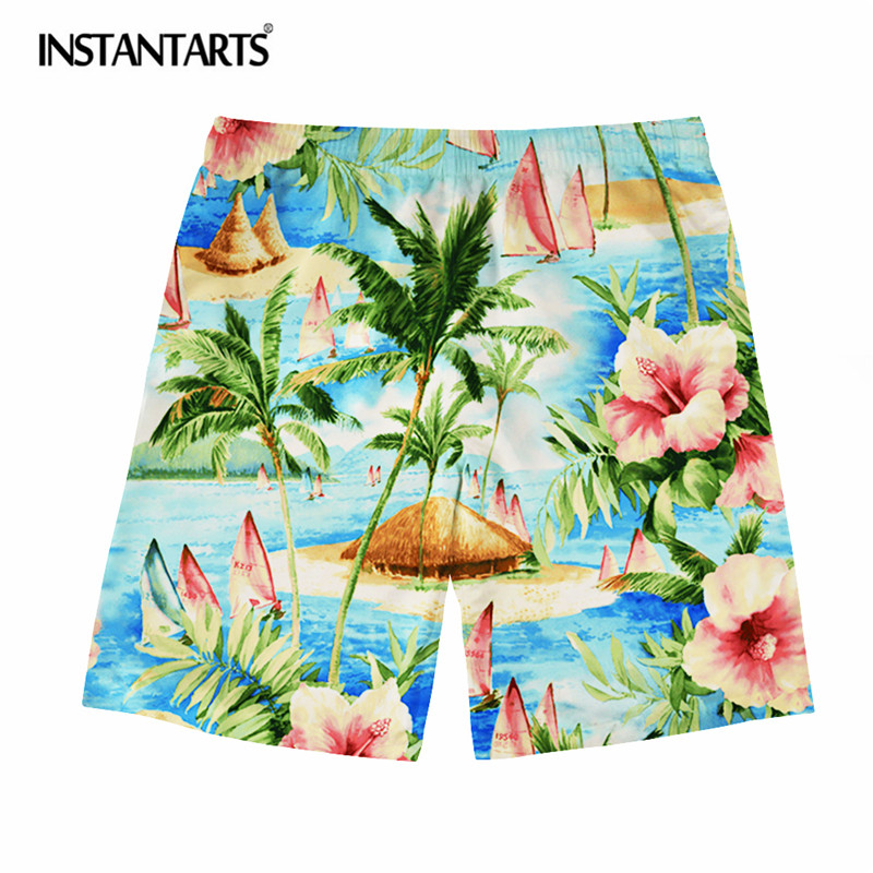 INSTANTARTS Summer Hawaiian Tropical Forest Pattern Men's Beach   Short   Quick Dry Breathable   Board     Shorts   Boys Male Casual   Short