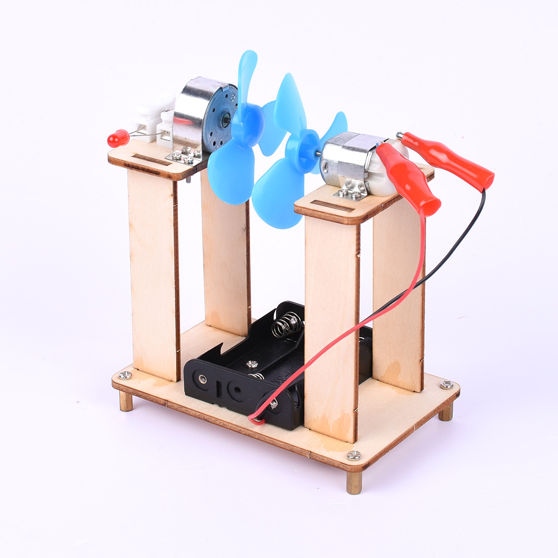 Kids DIY fan Educational Toys Wind 110 70 135mm Wood Color Logs Invention Experiment Set Kits Durable