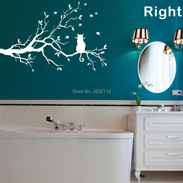 Cat on branch wall sticker tree vinyl wall decal stickers birds home decor wall art carved