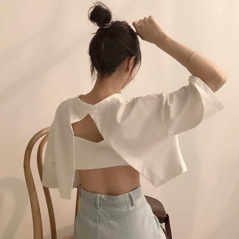 8fd442ee3ecc1e T-shirt Woman 2019 Summer Fashion TShirt Top Korean Ulzzang Harajuku Solid  Backless Hollow Short