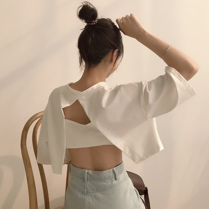 T-shirt Woman 2018 Summer Fashion TShirt Top Korean Ulzzang Harajuku Solid Backless Hollow Short Sleeve T-shirt Women Clothing ...
