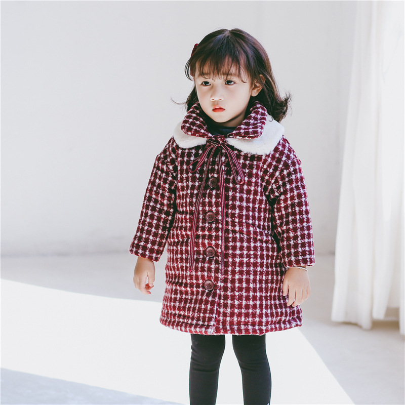 2018 autumn kids wool coats age 2 3 4 5 6 yrs winter baby girls blends jackets single breasted clothing plaid children outerwear girl