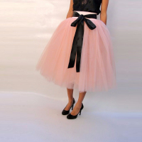 Lovely Pink Tutu Skirt Wide Waistline With Black Ribbons A Line Tee Length Midi Skirt Puffy Tulle Skirt For Women