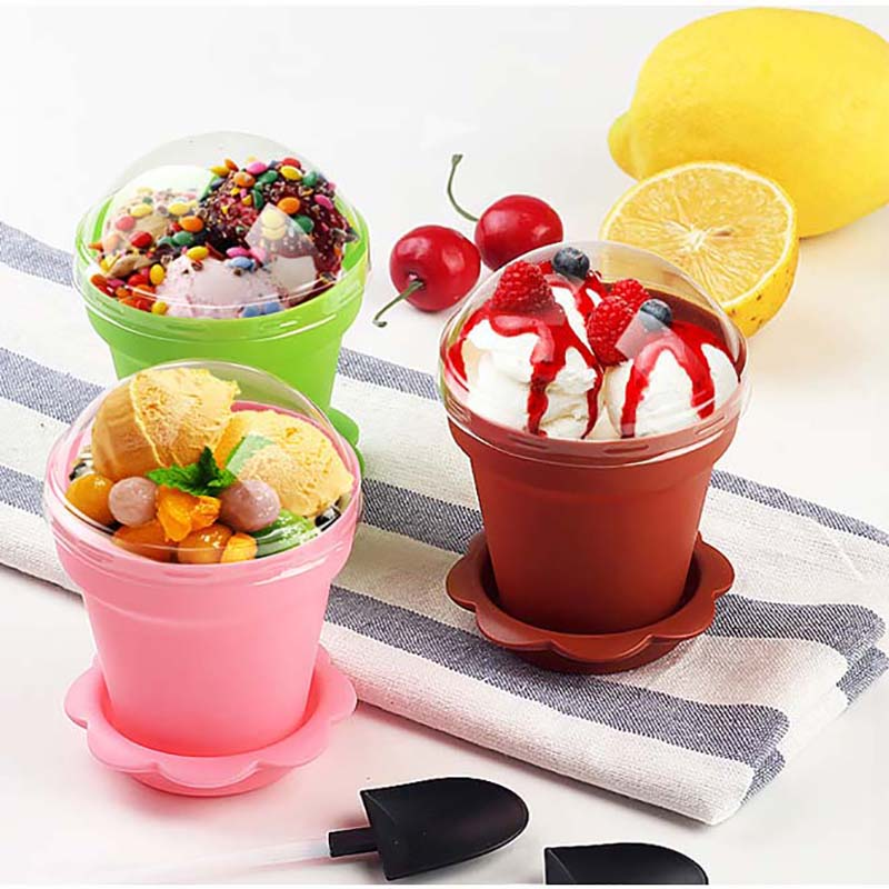 Disposable DIY Mousse Cake Cups Ice cream Cup With Lids And Scoop Pudding Cake Cup Dessert