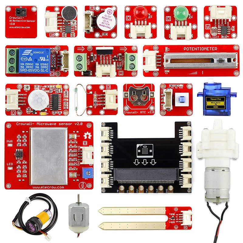 Elecrow Crowtail Learning Starter Kit for Micro:bit 2.0 Graphical Programming DIY Beginners with 17pcs Basic Crowtail Modules-in Integrated Circuits from Electronic Components & Supplies    1