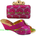 open toe heels Italian fashion womens fine shining diamond wedge  shoes and bag set 2015 free shipping 1308-8 Fuchsia