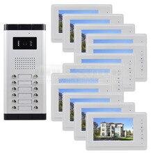 """DIYSECUR Calidad 7 """"4-cableado Apartamento Videoportero Audio Visual Intercom Sistema de Entrada de la Cámara de INFRARROJOS Para 12 Familias"""