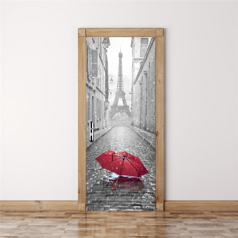 Módní 3D dveřní samolepky 2PCS / Lot Bedroom Wall Stickers - Dekorace interiéru