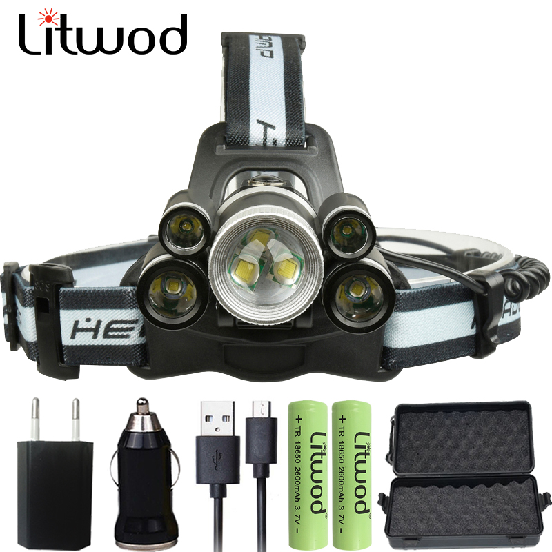 Litwod z202508 Headlamp 20000 Lumen Chips 5* T6/ 2* XPE LED Head Lamp torch Zoomable Lanterna 5 Model Led Headlight For Camping