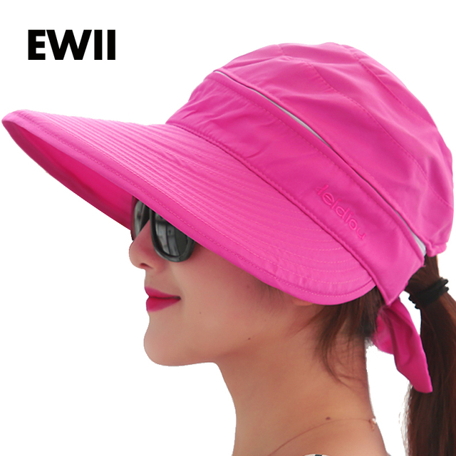 3cd639d5dc2 2018 Fashion summer hats for women beach UV protection female caps women  sun hat girl beach visor cap chapeu feminino