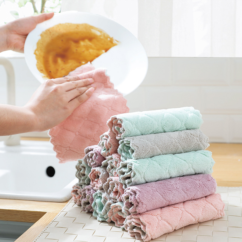 US $0.73 14% OFF|Non greasy kitchen towel absorbent and thickened double  microfiber kitchen towel dish cloth kitchen towels cloth kitchen cloth-in  ...