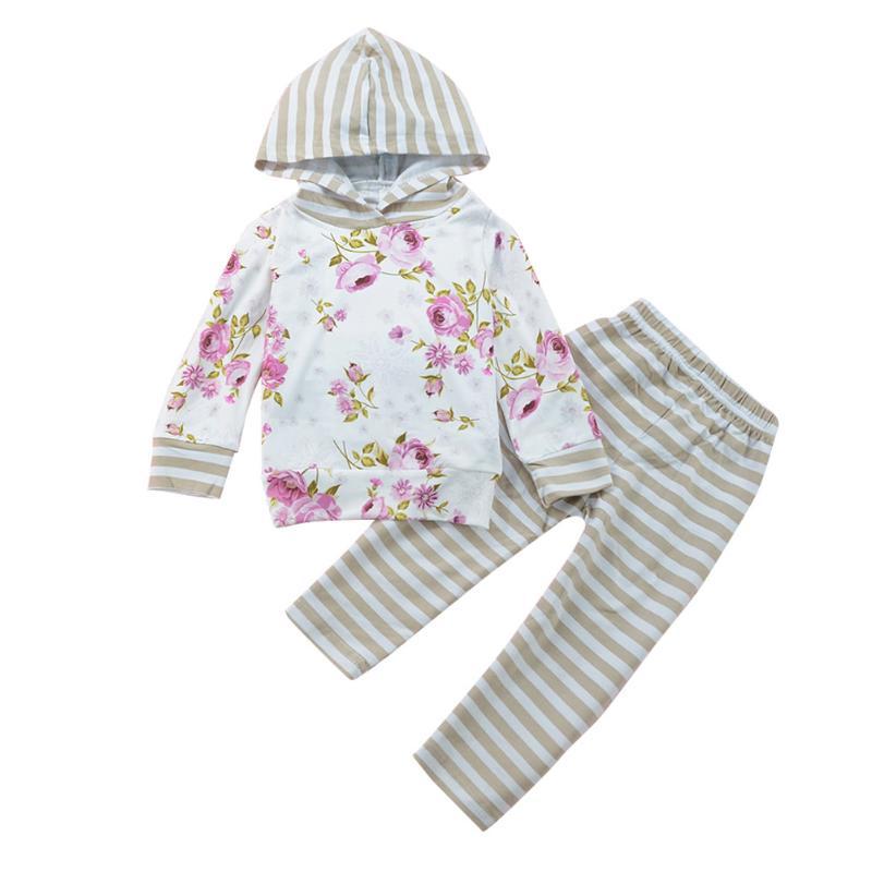 2pcs/set Newborn Girl Long Sleeve Floral Hooded Sweatshirt + Striped Pants 2pcs Suit Baby Girl Clothes Newborn 0-18M