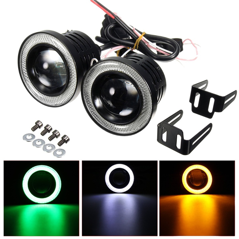 2x Universal 2.5 Inch Projector COB LED Car Fog Light Halo Angel Eyes Rings DRLWhite Green Amber 12V Road Fog Lampm