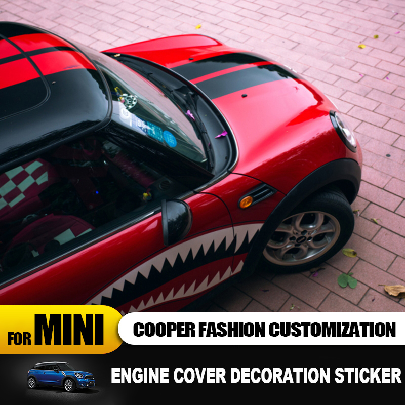 Image 5 - Engine cover+Trunk cover Line Car Stickers And Decals Car styling For Mini Cooper Clubman F55 F56 Sticker decoration Accessories-in Car Stickers from Automobiles & Motorcycles