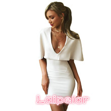 Sexy Club 2018 Summer Dress Female White Low Chest V-neck Cloak Short Sleeve Mini Solid Slim Fit Women Bodycon Dresses Vestidos