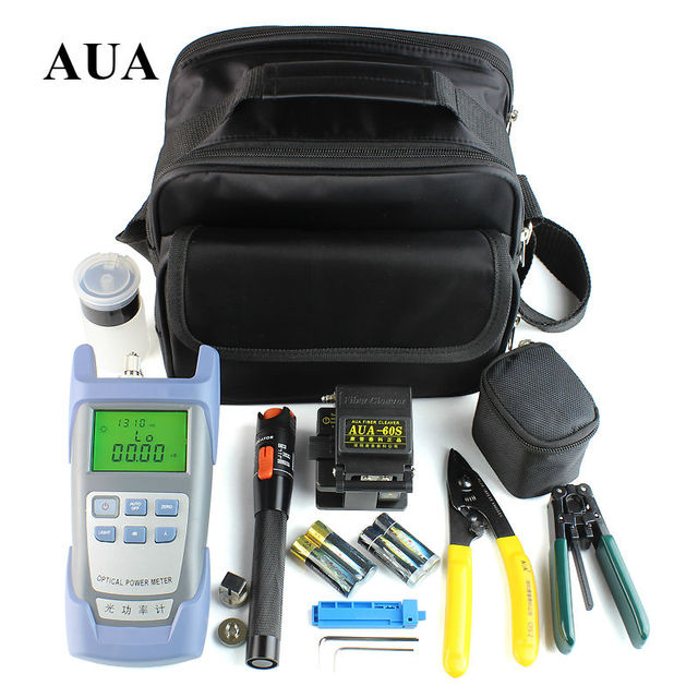 wholesale Fiber Optic FTTH Tool Kit with AUA-60S Fiber Cleaver and Optical Power Meter 10Mw Visual Fault Locator Wire stripper