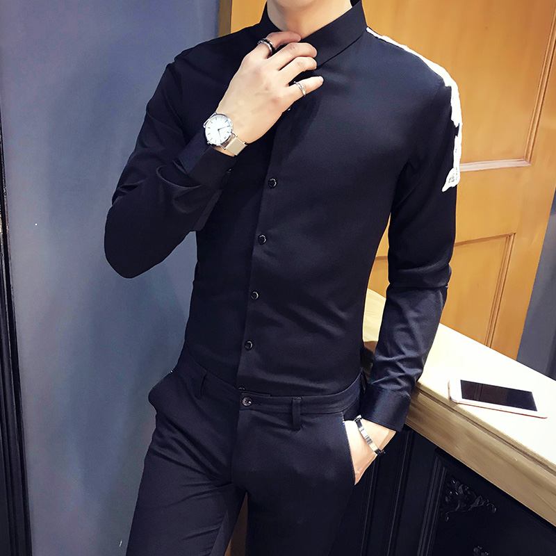 Camiseta Masculina Spring New Arrival Men Social Shirt Slim Fit Long Sleeve Shoulder Patch Design Sexy Shirt Men Clothing 3XL-M