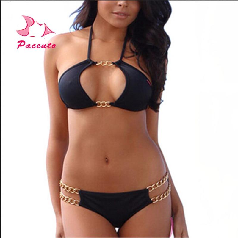 Pacento Bikini Set Chain Bikini Set Sexy Solid Swimsuits Black Swimwear Female Biquini Feminino Praia Plavky Swiming Suit Women