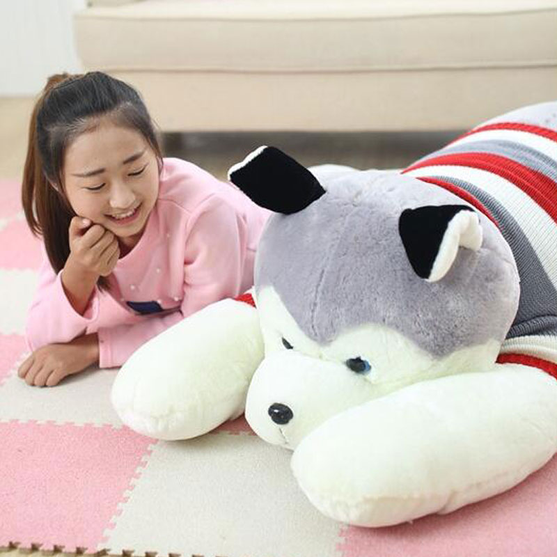NEW 100CM Comfortable Husky Papa  Plush Toy Dog Doll Oversize Cute Dog Cushion For Valentine 's Day Gift Creative Birthday Gift 1pc 12cm kawaii lover couple valentine s day gift novelty mascot doll toy plush papa bear panda pendant for mobile phone charm
