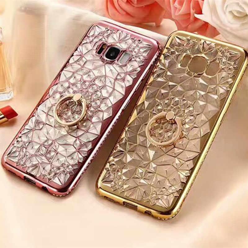 Чехол для телефона Samsung S10 Plus S10 lite Samsung J4 J6 A6 A8 Plus A5 A9 2018 3D прочный цветочный Блестящий Алмазный чехол-держатель с кольцом