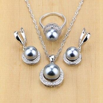 Joyería de plata 925 perlas simuladas negras con cuentas juegos de joyas para mujer pendientes colgantes de boda conjunto de anillos collar