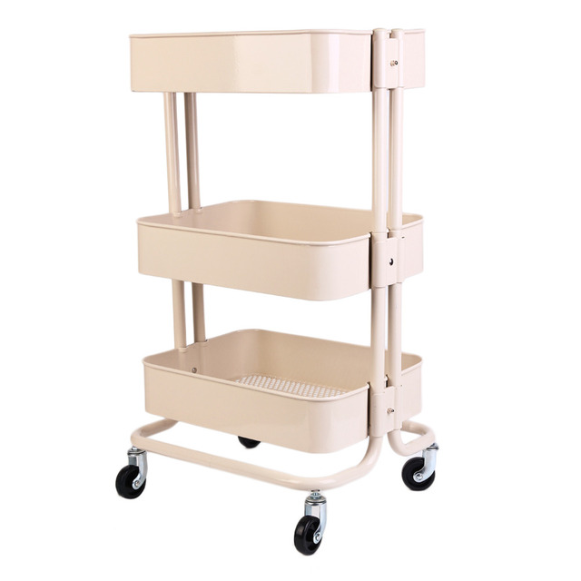 3 Layers Movable Metal Storage Rack Shelf Kitchen Bathroom Shelving Holder  Organizer With Wheels Free Ship