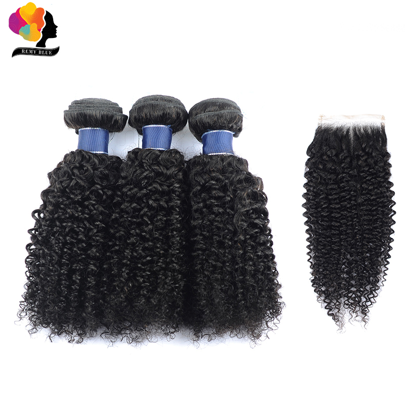 Remyblue Brazilian Hair Weave Bundles With Closure Natural Black Afro Kinky Curly 3 Bundles With Closure Remy Human Hair Bundles