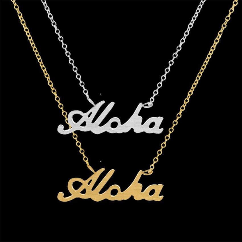 Carta Aloha Colgante Collar de Cadena de Eslabones de Acero inoxidable Personalizar Alfabeto Amor Collares Mujeres Joyería de Los Niños Mejor Regalo Amigo