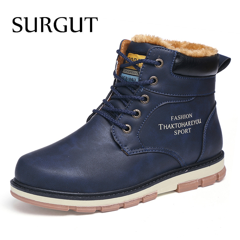 SURGUT Brand Hot Newest Keep Warm Winter Boots Men High Quality Waterproof Casual Shoes Working Fashion Pu Leather Snow Boots