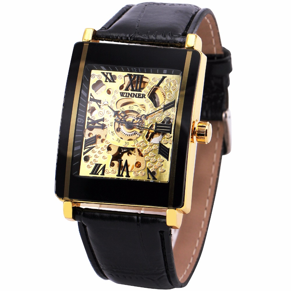 New Men Rectangle Watches Top Brand WINNER Men's Automatic Mechanical Wristwatches Leather Strap Skeleton Dial Fashion Clock t winner fashion women girl skeleton dial handind mechanical watch watches pu leather band wristwatches gift free ship