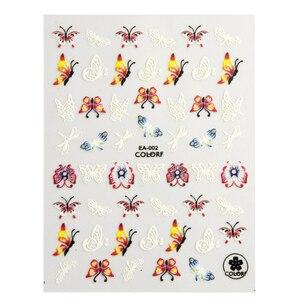 Image 3 - 1 feuille 3d Nail Art autocollant adhésif autocollants outil bricolage ongle décoration outil en relief fleur autocollant