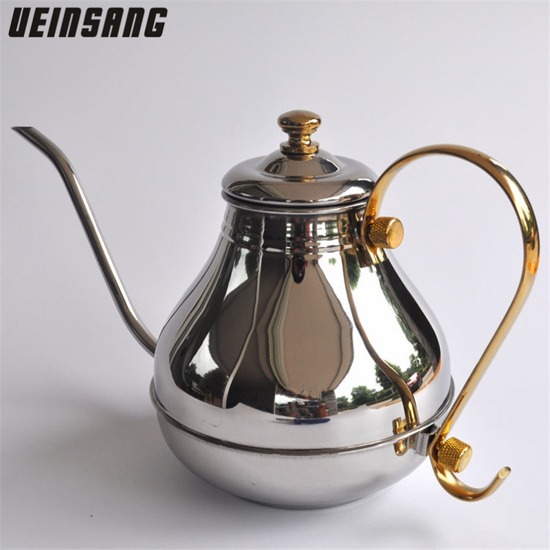 1200ML Large Capacity Stainless Steel Fine Mouth Pot Coffee Pot Teapots Drip Pot Tea Pot Kettle Coffee and Tea Tools Drinkware
