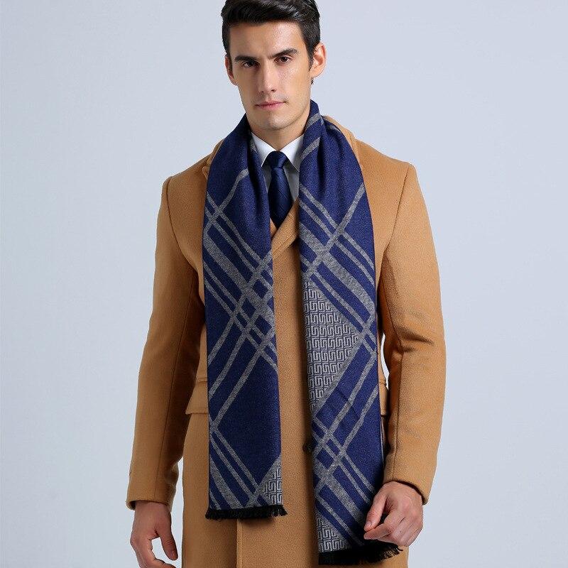 Wholesale Winter Cotton Scarves Brand Men Business Scarf Casual font b Tartan b font Jacquard Scarfs