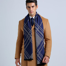 Wholesale Winter Cotton Scarves Brand Men Business Scarf Casual Tartan Jacquard Scarfs YJWD335