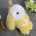 15cm fur rex rabbit key chians for women bags pendant real rabbits pokemon girl gift cute bunny pompon pompom trinket keychian