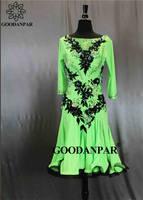 GOODANPAR Green Latin Dance Competition Dresses Women Girls Ladies Stone Latin Dress Salsa Rumba Samba Cha Cha Stage Dance Wear