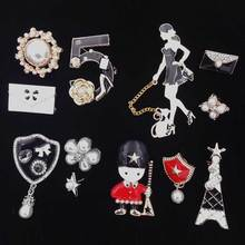 Female Women DIY Camellia Flower letter Brooch Pin Set Coat Hat Decoration Style Brooches Three-piece suit Mix Colors Broche Gir