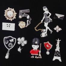Brooch-Pin-Set Three-Piece-Suit Camellia Coat Decoration-Style Flower-Letter Women Hat