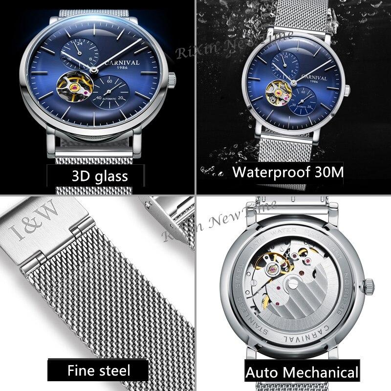 Carnaval ultra-mince tourbillon auto montres mécaniques hommes marque de luxe en acier complet étanche hommes montre horloges relogio kol saati - 5