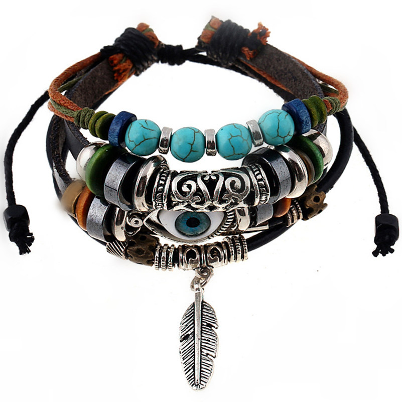 Brown Leather Feather Evil Eye Wrap Charm Bracelets
