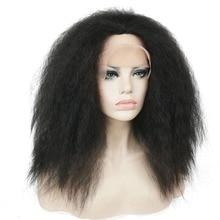 StrongBeauty African American Wigs Hairpieces rizado recto peluca de encaje sintético negro para mujeres negras