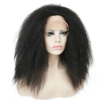 StrongBeauty African American Wigs Hairpieces Kinky Straight Black Synthetic Lace Front Wig For Black Women