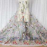 2016 High Grade Organza Silk Embroidered Floral Lace Fabric DIY Dress Cloth Material Designer Love Country