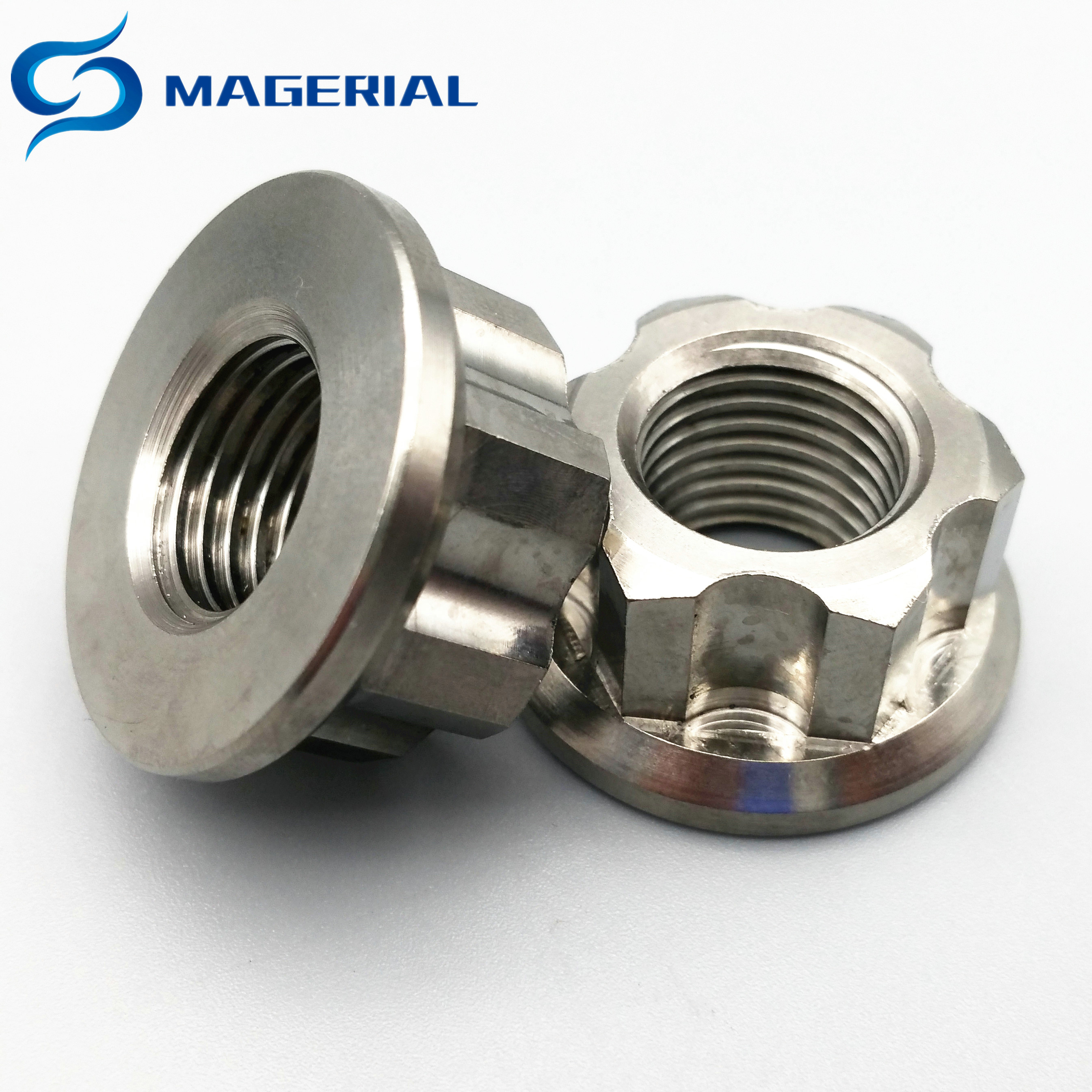 Ti Axle Nut M6 M8 <font><b>M10</b></font> M12 M14 <font><b>Titanium</b></font> Flange Nut Ti Color Hexagon <font><b>titanium</b></font> <font><b>screw</b></font> Nuts Ti fastener 2PCS image