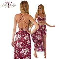 BellyAnna 2016 Summer New Hot Sexy Women 1 Set Beach Floral Print Backless Spaghetti Straps Crop Top & Boho Split Long Skirt