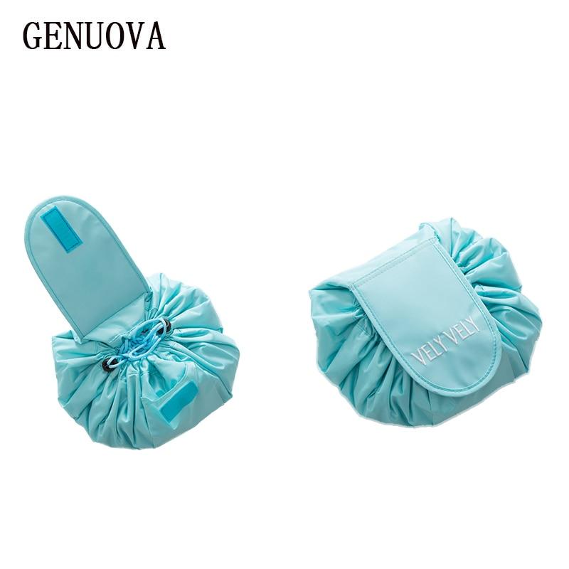 Perezoso maquillaje Portátil Bolsa Corea cordón almacenamiento a granel cosméticos magia doble bolsos artista colada organizador