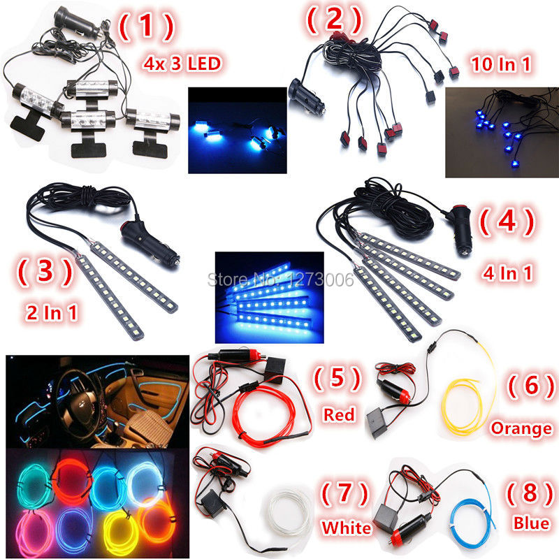 Universal 12V LED Glow Neon Interior Decorative Atmosphere Lights Lamp 4x 3/10 In 1/2 In 1/4 In 1/1M Atmosphere Lamp Kit for Car high quality 4pcs 3 led universal car accessory glow interior decorative atmosphere light purple orange lamp