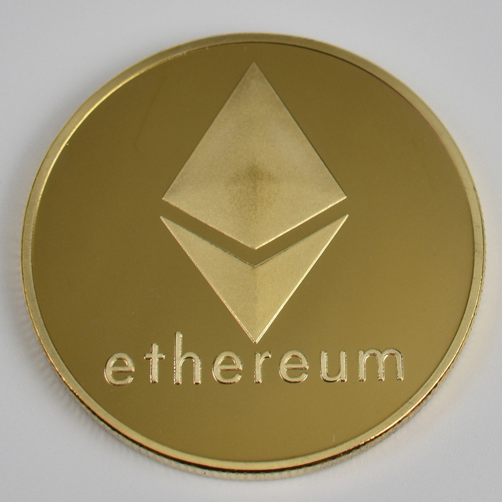 Позолоченные Биткоин Бит монета пульсация Litecoin эфириум коллекция подарок 40 мм криптовалюта монета металлическая памятная монета - Цвет: gold ethereum