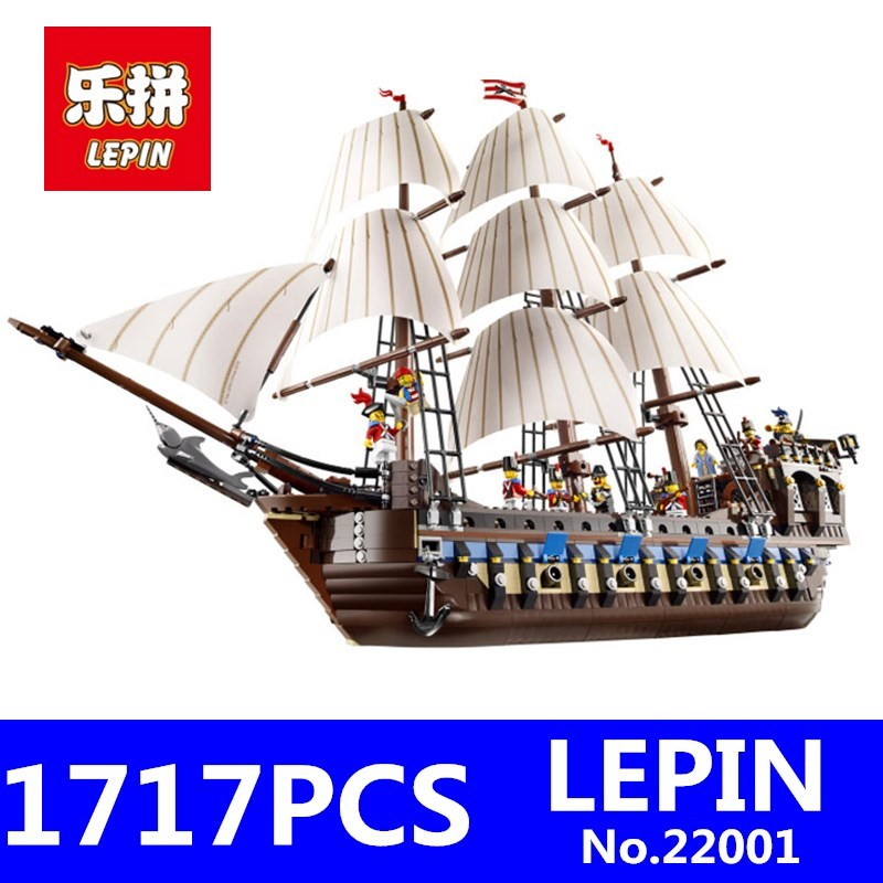 LEPIN 22001 1717Pcs Pirate Ship Imperial Warships Model Kids Ships Building Blocks Bricks Children Toys Gift Compatible 10210 free shipping lepin 2791pcs 16002 pirate ship metal beard s sea cow model building kits blocks bricks toys compatible with 70810